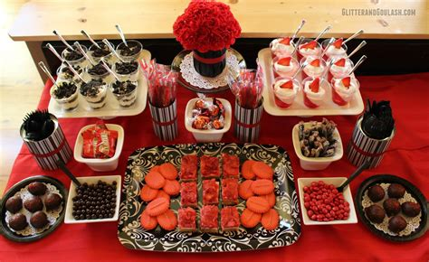 party themes black black red dessert snack table ideas glitter and goulash