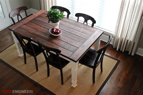 build dining table diy farmhouse table free plans rogue engineer