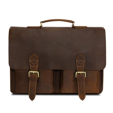 Handmade Briefcase - kattee handmade genuine leather laptop briefcase messenger