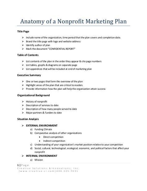 Anatomy Of A Nonprofit Marketing Plan Marketing Plan Template For Non Profit Organization