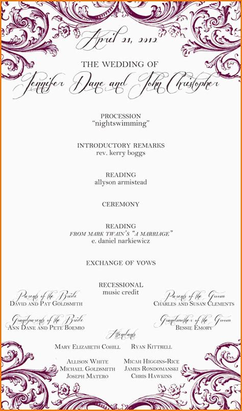 one page wedding program template one page wedding program template authorization letter pdf