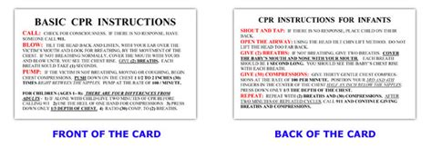 printable cpr instructions 2015 6 best images of basic first aid printable wallet size