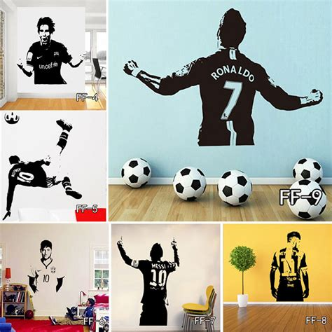 soccer home decor creative football player wall stickers football star vinyl