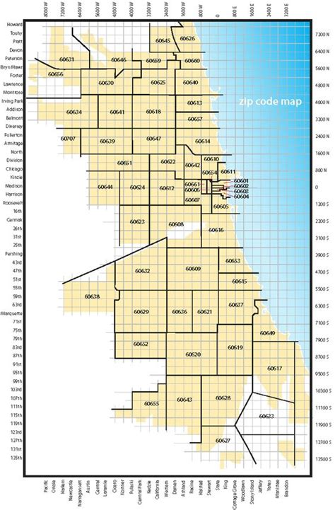 chicago map grid map showing zip code areas and major streets of the