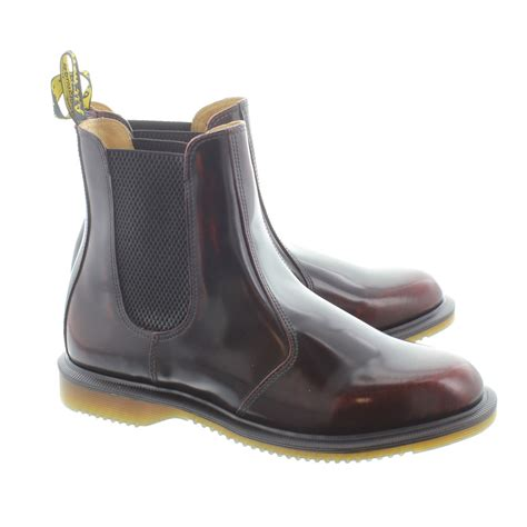 dr martens womens kensington flora chelsea boots in cherry in cherry