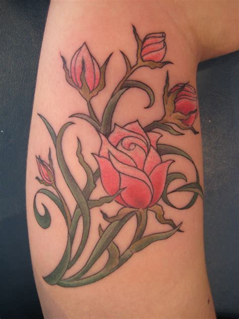 rose tattoo with leaves flower tattoos designs and ideas for