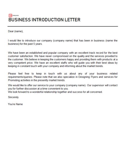 business introduction letters templates word