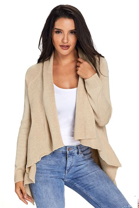 Sweater Cardigans 11 us 10 93 apricot waterfall sleeve sweater cardigan dropshipping