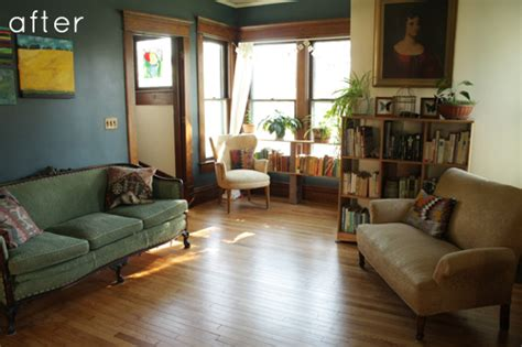 before after living room transformation design sponge