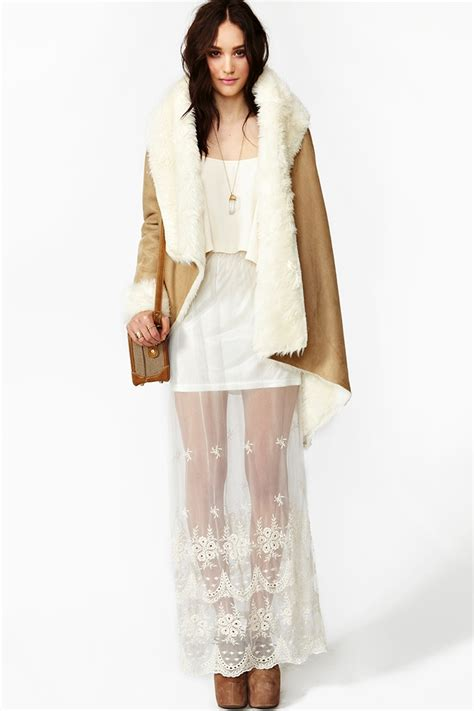 gal monterey lace maxi skirt in white ivory lyst