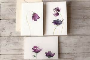 watercolor greeting cards birthday cards purple flowers set of