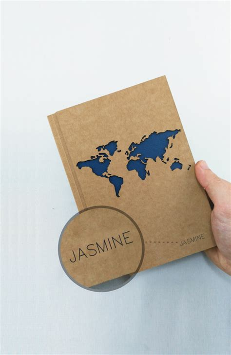 travel notebook personalized journal world map journal by
