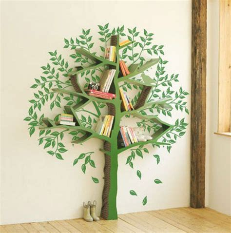 tree bookcase mural nest feathers murals