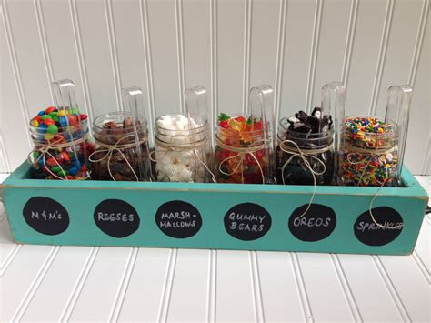 ice cream bar toppings list ice cream sundae topping party bar mason jar wood planter box