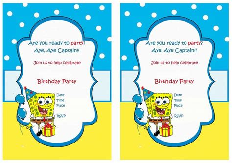 Spongebob Printable Invitations