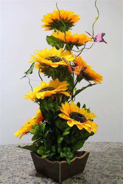 Arranjo girassol flores artificiais vaso madeira tabaco r 91 50 em mercado livre