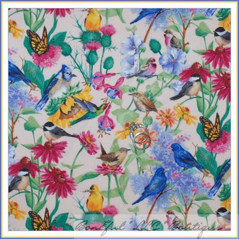 boneful fabric fq cotton quilt spring pink blue bird green