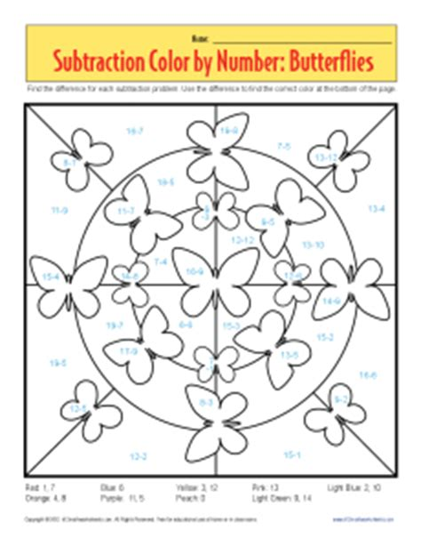 butterfly math coloring page free coloring pages