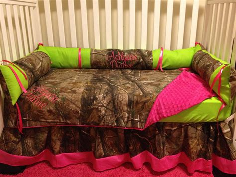 camo realtree with lime pink baby crib bedding set with