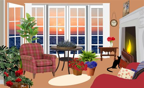 clipart fictional living room with an view