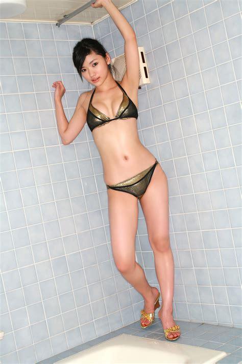 hot girls in the bathroom hatsune matsushima japanese sexy idol leather black bikini