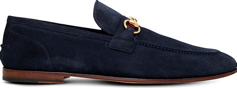gucci blue suede loafers gucci elanor horsebit suede loafers in blue for lyst