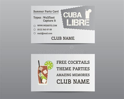 card templates for libre write summer cocktail business card layout stock vector