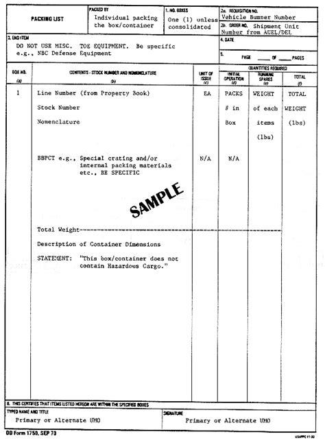 dd template da form 1750 blank dd form 1750 word document