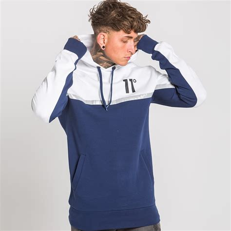 Hoodie Abu Co One 1 reflect pull hoodie navy white 11 degrees from eleven degrees uk