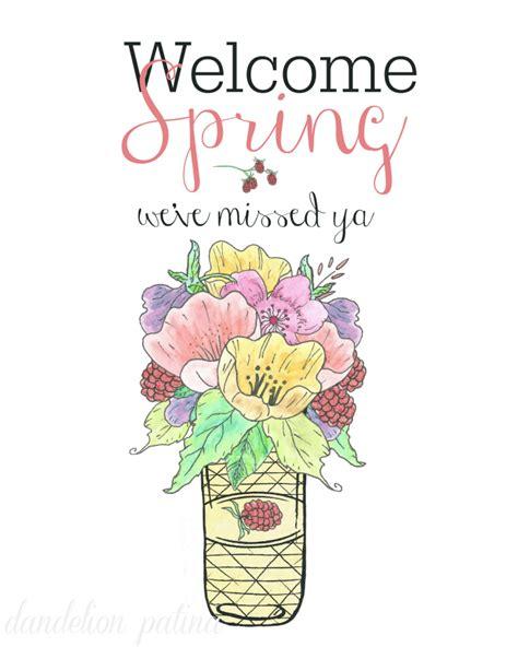 printable spring images welcome spring free printable dandelion patina