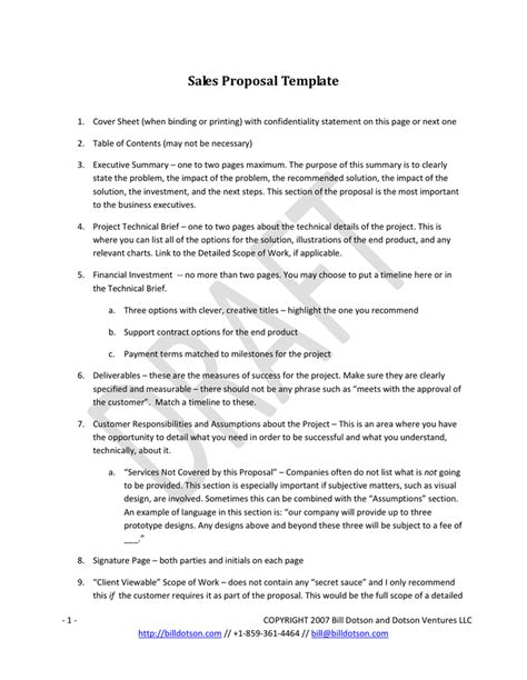doc 585642 sales proposal template 10 free sle