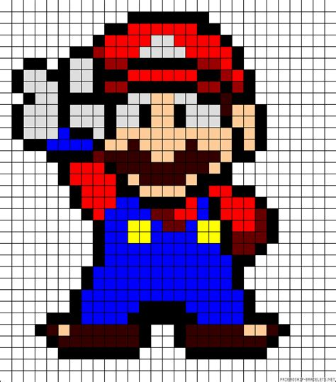 perler bead grid mario on graph paper coloring pages