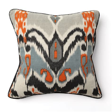 ikat print with black piping throw pillow by villa home