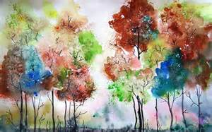 water color artists watercolor painting trees colors wallpaper and