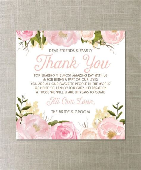 how do i make wedding place cards instant floral thank you place card wedding reception place setting card thank