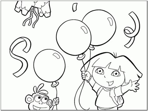 96 happy birthday coloring pages dora the explore
