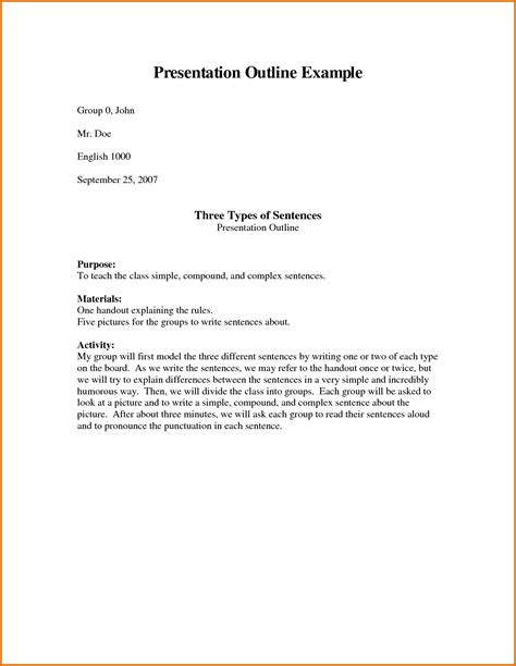 Presentation Outline Template 28 Images Sle Speech Presentation Outline Sle