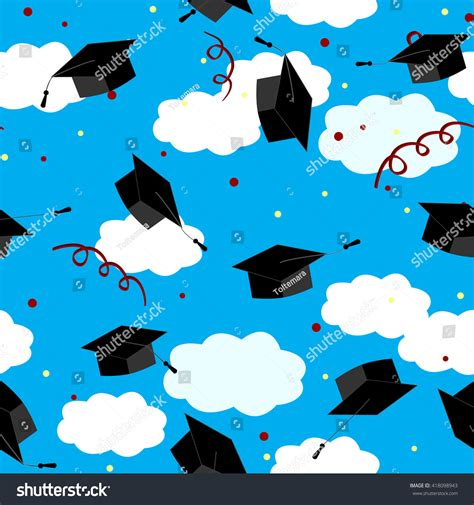 design is in the air graduation caps air graduate background stock vector