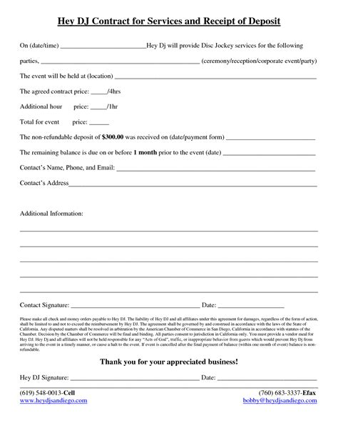 Dj Contract Free Printable Documents Mobile Dj Contract Template