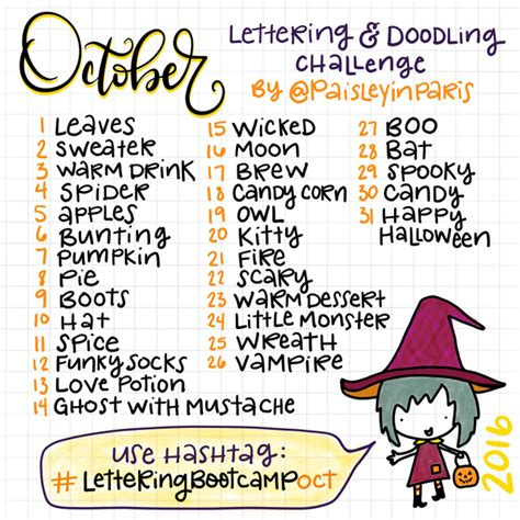 doodle kombinacje po polsku october lettering doodle challenge