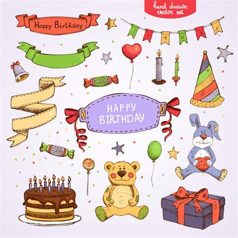 happy birthday design elements hand drawn happy birthday elements vector free vector in