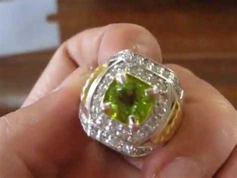cincin batu permata peridot cincin silver gold plated ring 8 us batu mulia peridot