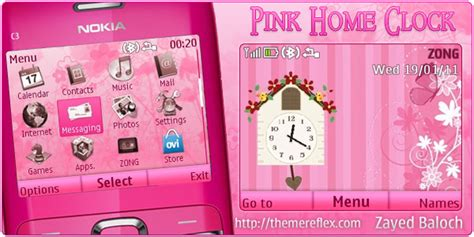 nokia c3 themes cute pink pink home style clock nokia c3 x2 01 theme themereflex