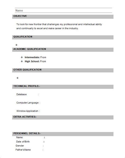 format of resume for freshers 16 resume templates for freshers pdf doc free