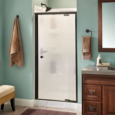 Rainx On Shower Doors Delta Phoebe 36 In X 66 In Semi Frameless Pivot Shower Door In Bronze With Glass 170463