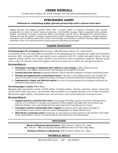 Resume Purchasing by Free Purchasing Resume Exle