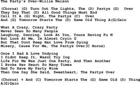 lyrics willie nelson country the s willie nelson lyrics and chords