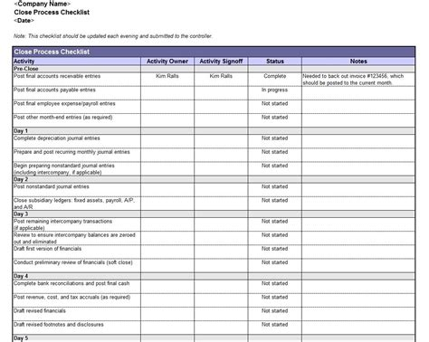 Accounting Book Closing Checklist And Monthly Accounting Checklist Template Monthly Accounting Monthly Bookkeeping Excel Template