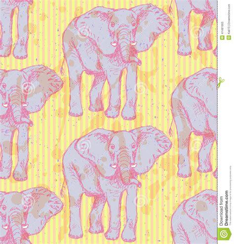 vintage pattern sketch sketch elephant vector vintage seamless pattern stock