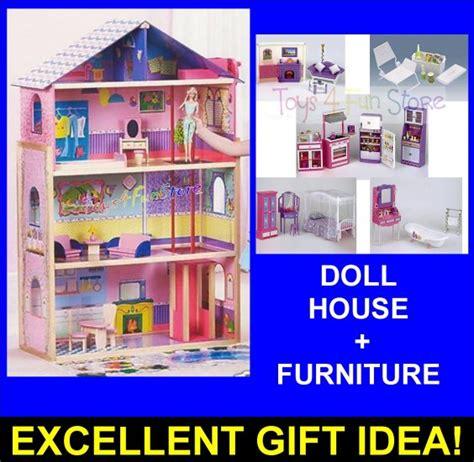 preschool doll house kids wood dollhouse house furniture 4 barbie dolls
